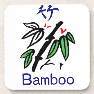 Mahjong Bamboo Suit,Red,Blue,Green,Black on White Drink Coaster