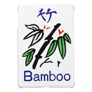 Mahjong Bamboo Suit,Red,Blue,Green,Black on White iPad Mini Cover