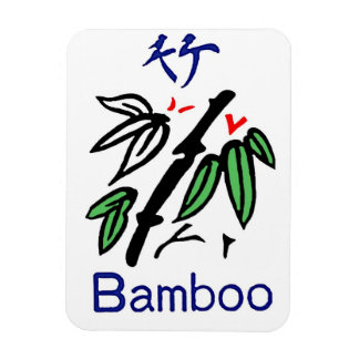 Mahjong Bamboo Suit,Red,Blue,Green,Black on White Magnet