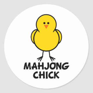 Mahjong Chick Classic Round Sticker