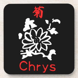 Mahjong Chrysanthemum Flower, Red & White on Black Coaster