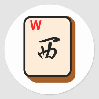 Mahjong del oeste pegatina redonda