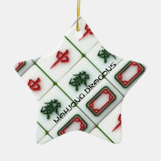 Mahjong Dragons Double-Sided Star Ceramic Christmas Ornament