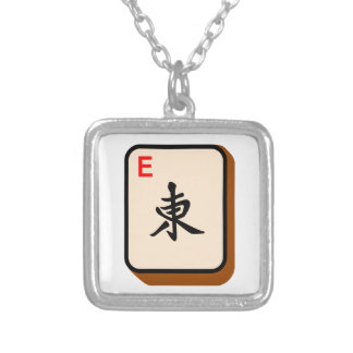 Mahjong East Silver Plated Necklace
