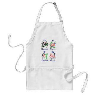 Mahjong Flower Suits,Blue,Red,Green,Black on White Adult Apron