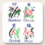 Mahjong Flower Suits,Blue,Red,Green,Black on White Drink Coasters