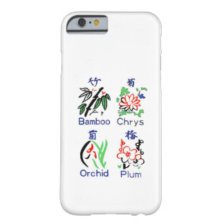 Mahjong Flower Suits,Blue,Red,Green,Black on White iPhone 6 Case
