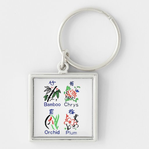 Mahjong Flower Suits,Blue,Red,Green,Black on White Silver-Colored Square Keychain