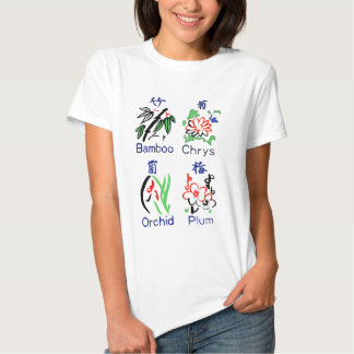 Mahjong Flower Suits,Blue,Red,Green,Black on White T Shirt
