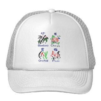 Mahjong Flower Suits,Blue,Red,Green,Black on White Trucker Hat