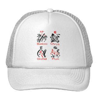 Mahjong Flower Suits, Red & Black on White Trucker Hat