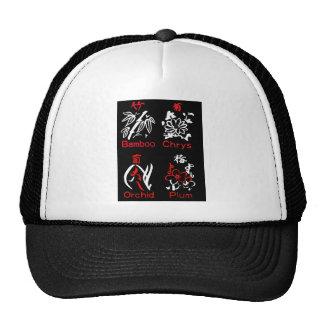 Mahjong Flower Suits, Red & White on Black Trucker Hat