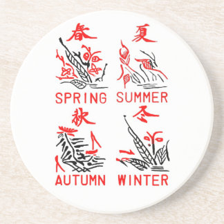 Mahjong Four Seasons, White Background Drink Coaster