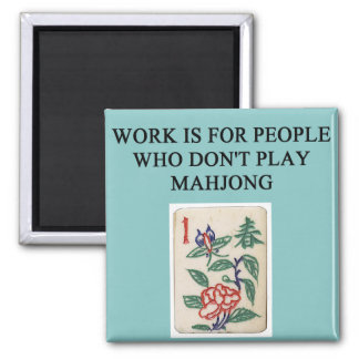 mahjong game player 2 inch square magnet