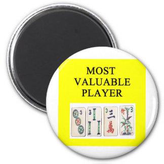 MAHJONG la mayoría del jugador valioso Imán Redondo 5 Cm