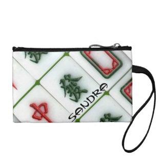 Mahjong monogrammed change purse