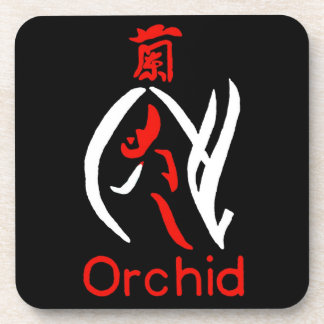 Mahjong Orchid Flower, Red & White on Black Beverage Coaster
