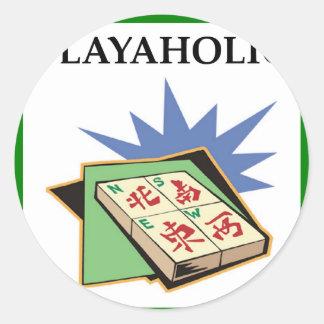 mahjong pegatina redonda