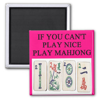 MAHJONG player 2 Inch Square Magnet