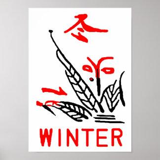 Mahjong Tile, Winter, On White Background Poster