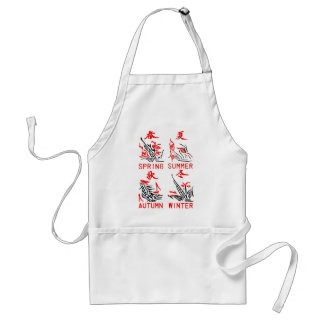 Mahjong Tiles, Four Seasons , On White Background Adult Apron