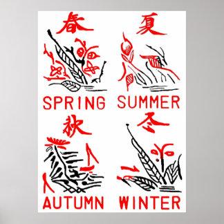 Mahjong Tiles, Four Seasons , On White Background Poster