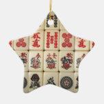 Mahjong tiles Double-Sided star ceramic christmas ornament