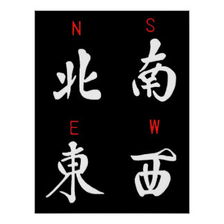 Mahjong Winds,Honor Suit,North,South,East,West (b) Poster