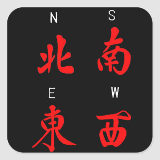 Mahjong Winds,Honor Suit,North,South,East,West (c) Square Sticker