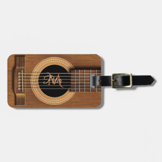 Mahogany Acoustic Guitar Personalized Luggage Tag
