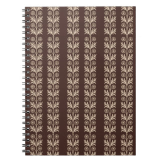 Mahogany Arts and Crafts Floral Stripe Notebook