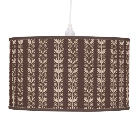 Mahogany Arts and Crafts Floral Stripe Pendant Lamp