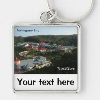 Mahogany Bay, Roatan Silver-Colored Square Keychain