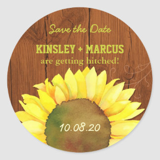 Mahogany Brown Wood Texture Wedding Classic Round Sticker