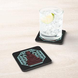 Mahogany Buddha Pixel Art Beverage Coaster