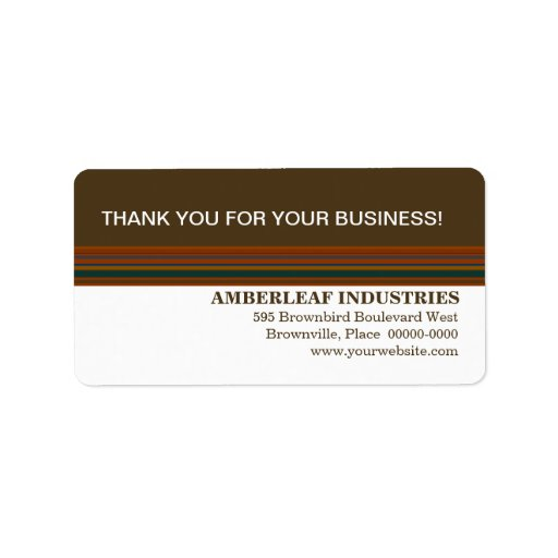 Mahogany Stripes Business Thank You Label