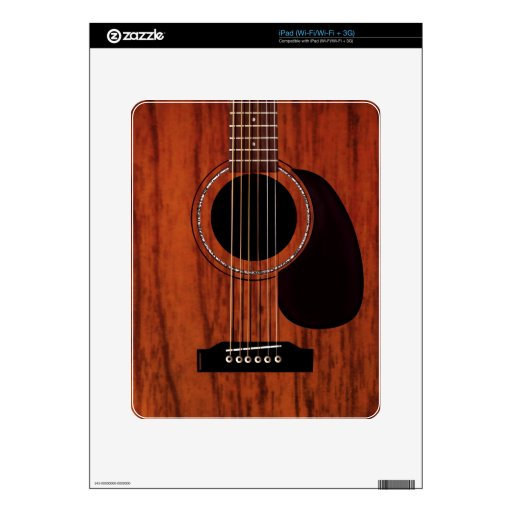 Mahogany Top Acoustic Guitar Decal For The iPad
