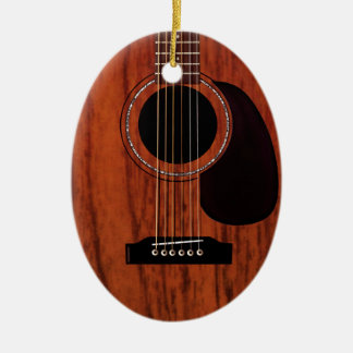 Mahogany Top Acoustic Guitar Double-Sided Oval Ceramic Christmas Ornament