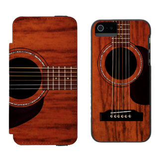 Mahogany Top Acoustic Guitar Wallet Case For iPhone SE/5/5s