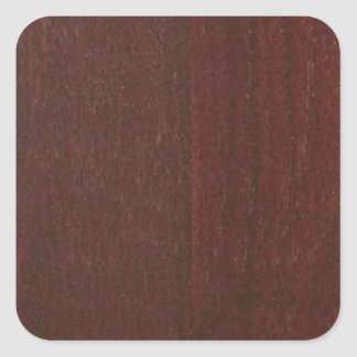 MAHOGANY Wood Finish BUY Blank Blanche add TEXT Square Sticker
