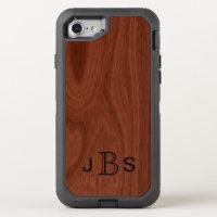Mahogany Wood Grain Look   Monogrammed Initials OtterBox Defender iPhone 8/7 Case