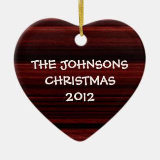 Mahogany Wood Double-Sided Heart Ceramic Christmas Ornament