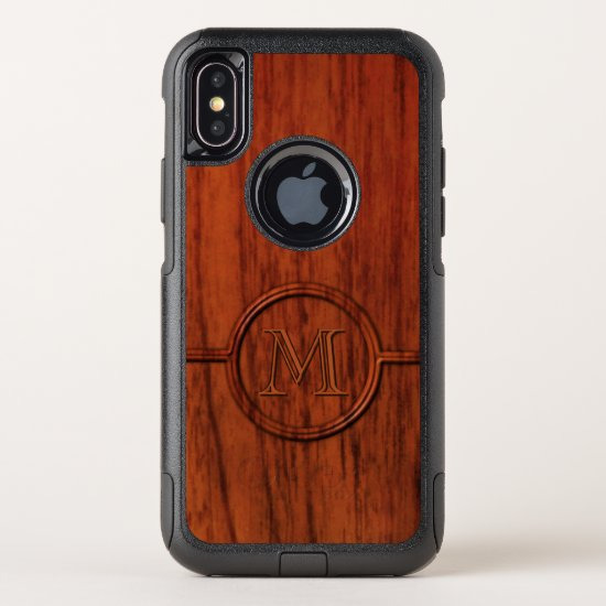 Mahogany Wood Print Monogram OtterBox Commuter iPhone X Case