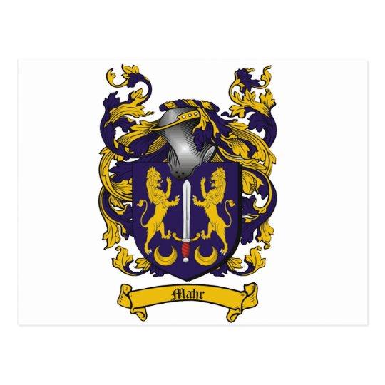 MAHR COAT ARMS - harper family crest Postcard
