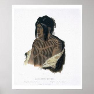 Mahsette-Kuiuab, jefe de los indios del Cree, plac Póster