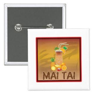 Mai Tai Cocktail 2 Inch Square Button
