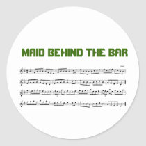 Maid Behind The Bar Music Reel Name Tag Sticker at Zazzle