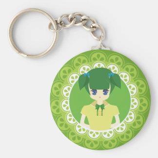 [Maid Café Series] Green Maid #02 Basic Round Button Keychain