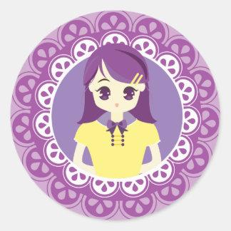 [Maid Café Series] Pastel Purple Maid #04 Classic Round Sticker