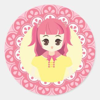 [Maid Café Series] Pink Maid #03 Classic Round Sticker